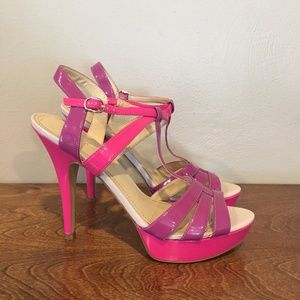 Enzo Angiolini Purple and Pink Strappy Heels